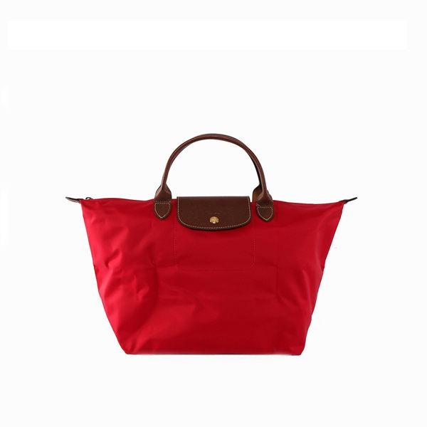 【LONGCHAMP】M號短把 摺疊水餃包 3D系列(深莓紅)1623089270