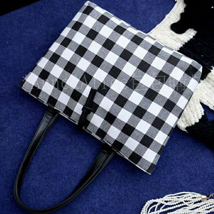 ^~ Anne  Alice包包購 ^~ ^~ 限定潮款黑白格子帆布休閒托特包大包肩背側背