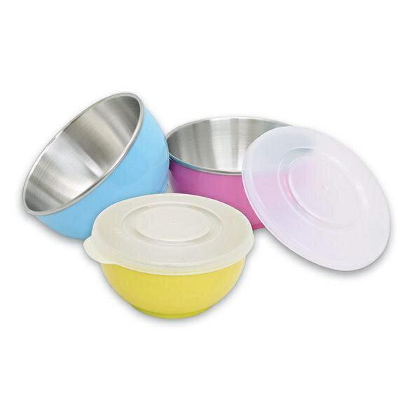 *美馨兒*元氣寶寶 彩色不鏽鋼隔熱寶寶碗(附蓋+湯匙) (三色可挑) 124元