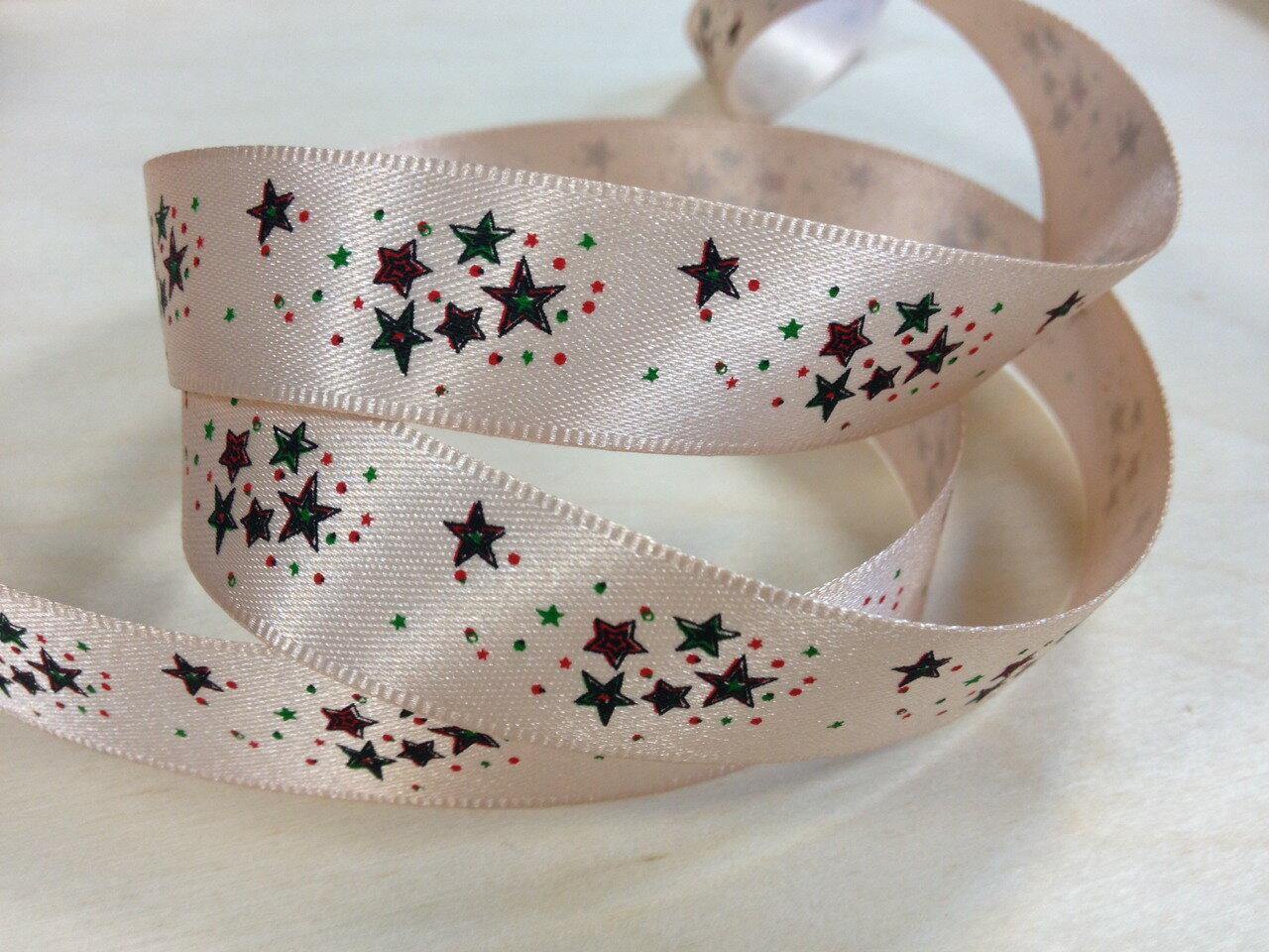 雙緞面聖誕繽紛星星15mm 3碼裝 - 限時優惠好康折扣