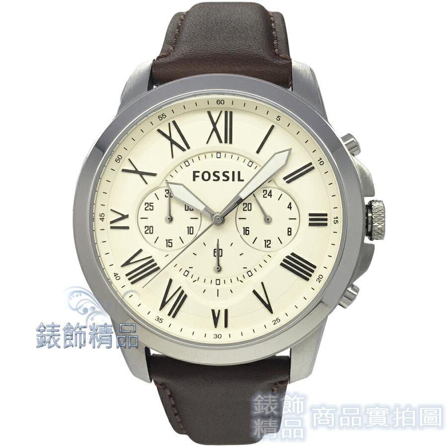 【錶飾精品】FOSSIL 手錶 FS4735 羅馬時標 三眼計時 米黃面 棕色錶帶 44mm 男錶