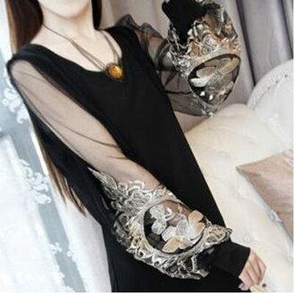 新款透明蕾絲燈籠袖 長版寬鬆上衣 連身裙D0040 ◆ 雅韓時尚館