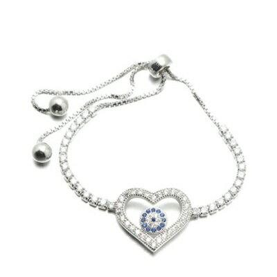 925純銀手鍊 鑲鑽手環 ~ 精緻百搭愛心情人節生日 女飾品73dl66~ ~~米蘭 ~