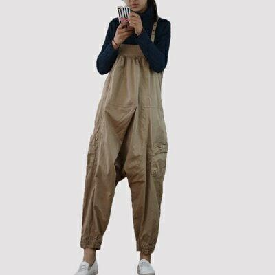 吊帶褲-簡約純色寬鬆舒適女哈倫褲2色73sf8【獨家進口】【米蘭精品】