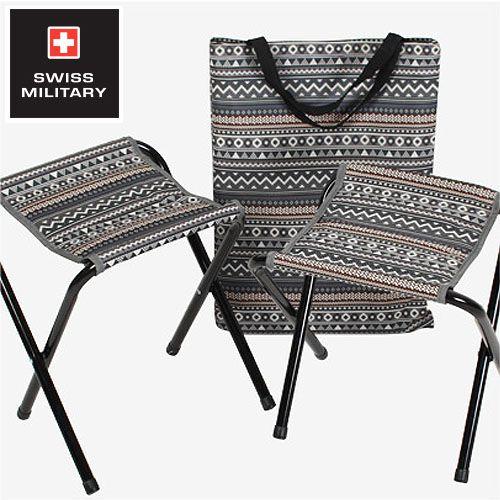 【露營趣】中和 SWISS MILITARY S6T3C001GR 彩繪民族風小板凳2入(藍灰) 摺疊椅 摺疊小板凳
