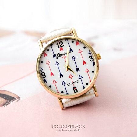 手錶 邱比特紅藍神箭圖案造型質感皮革手錶 中性款男女不分 柒彩年代【NE1592】單支售價