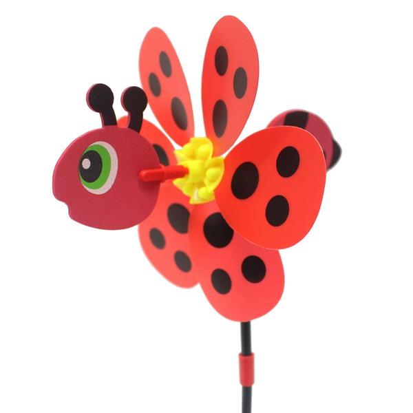 昆蟲造型風車+立體昆蟲(中)NO.229一袋10支入{促40}直徑約19cm彩色風車~創
