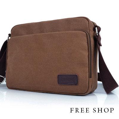 Free Shop【QTJYF1008】多功能袋設計真皮拼接多夾層帆布肩背包側背包‧咖啡色‧大容量