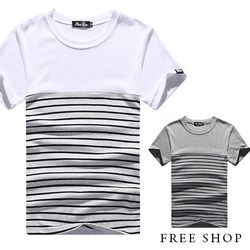 《Free Shop》Free Shop【QR05006】美式休閒簡約條紋拼色圓領棉質短T短袖上衣潮T恤.三色