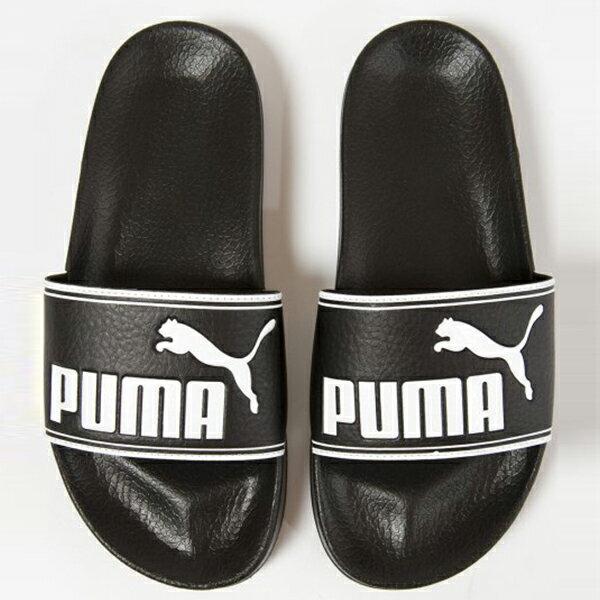 Shoestw【360263-01】PUMA LEADCAT 拖鞋 運動拖鞋 基本款 黑色 白邊 大LOGO 男生尺寸 3