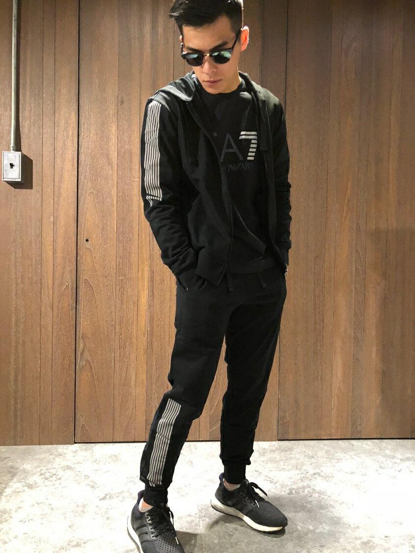 美國百分百【全新真品】Emporio Armani 連帽外套 夾克 棉褲 長褲 褲子 套裝 EA7 黑色 M號 J102