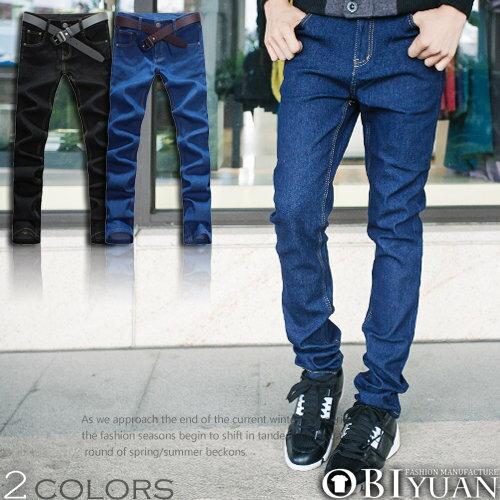 有加大尺碼【T1371】OBI YUAN韓版極簡百搭素面窄身牛仔褲共2色