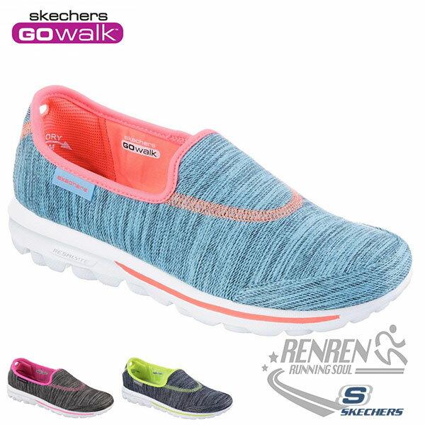 SKECHERS 女健走鞋GO WALK (藍橘) 懶人鞋 運動鞋