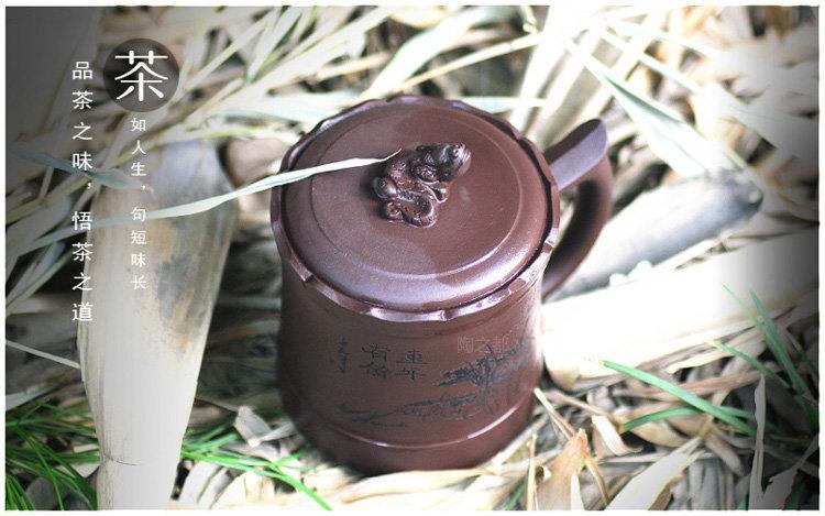 宜興紫砂杯 全手工正品茶杯 蓋杯 紫砂茶杯 紫泥蓮花杯約320c