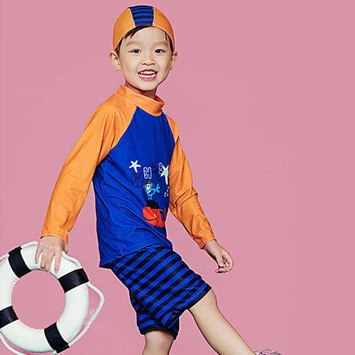 BOBI:兒童泳裝條紋撞色卡通印花兩件套長袖兒童泳裝【SFC2007】BOBI1214