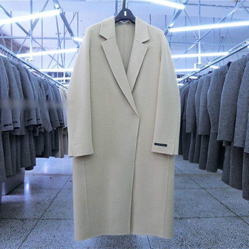 毛呢大衣羊毛外套-長版翻領簡約寬鬆女外套2色73wb21【獨家進口】【米蘭精品】 2