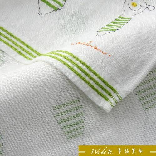 綠色豬紗布小方巾