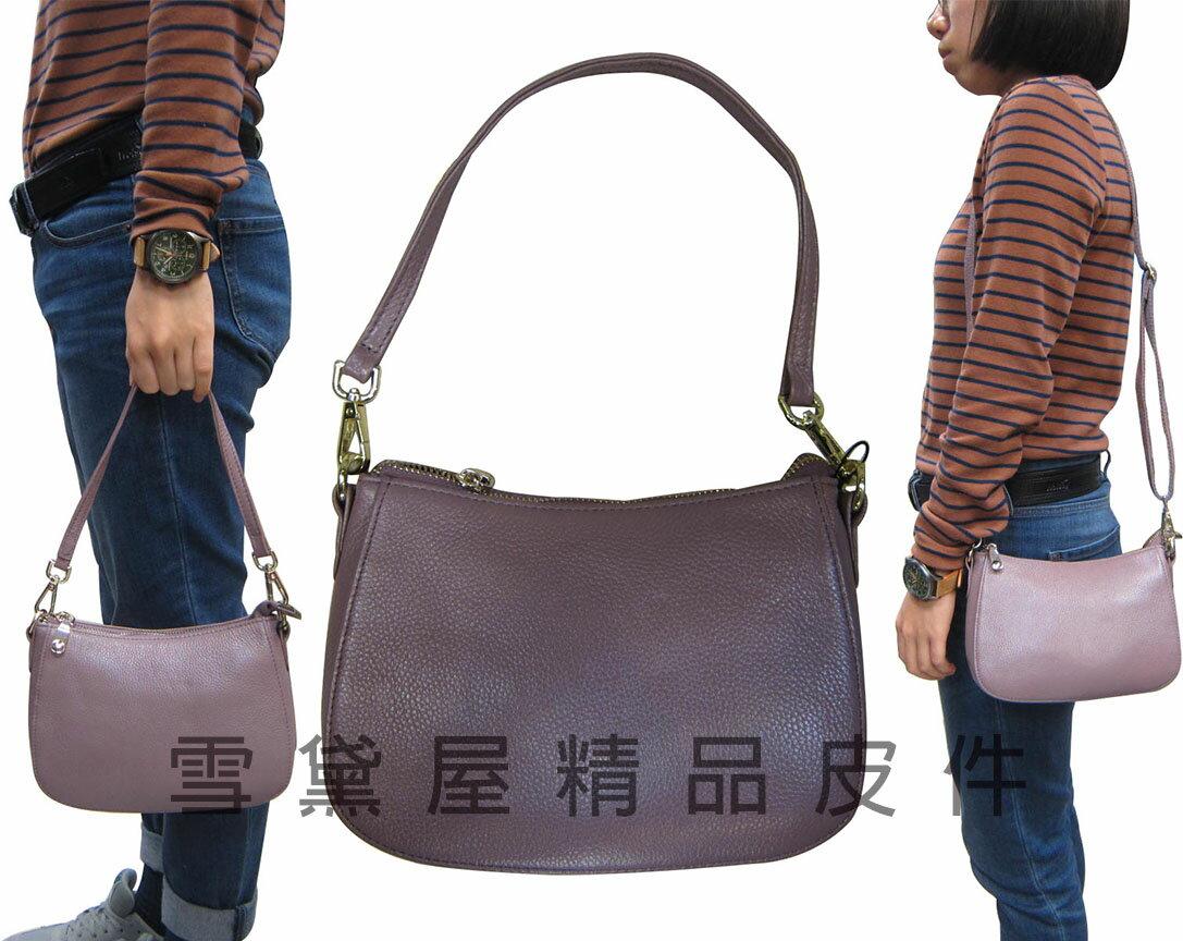 ~雪黛屋~ITALI-DUCK 手提肩背包小容量100%牛皮革附活動型長背帶台灣製造主袋內二拉鍊暗袋二隔層ID0325