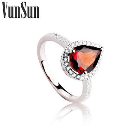 心愛系列時尚飾品銀指環鑲嵌石榴石戒指女款