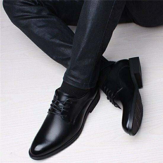皮鞋 韓版內青年系帶男士皮鞋英倫休閒商務正裝尖頭婚鞋男鞋子 果果輕時尚