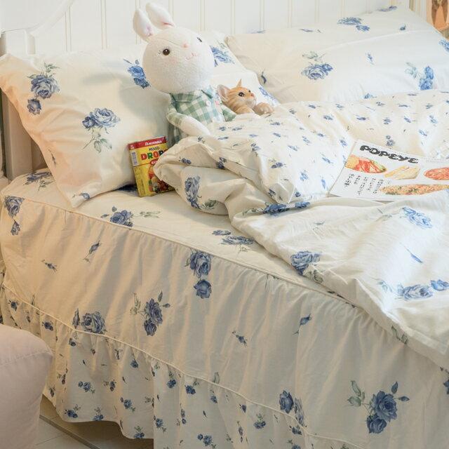 藍莓花園  雙人加大鋪棉床裙三件組 100%精梳棉 台灣製 9
