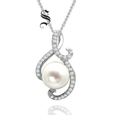 925純銀項鍊 珍珠吊墜~ 典雅鑲鑽精緻生日情人節 女飾品73dh20~ ~~米蘭 ~
