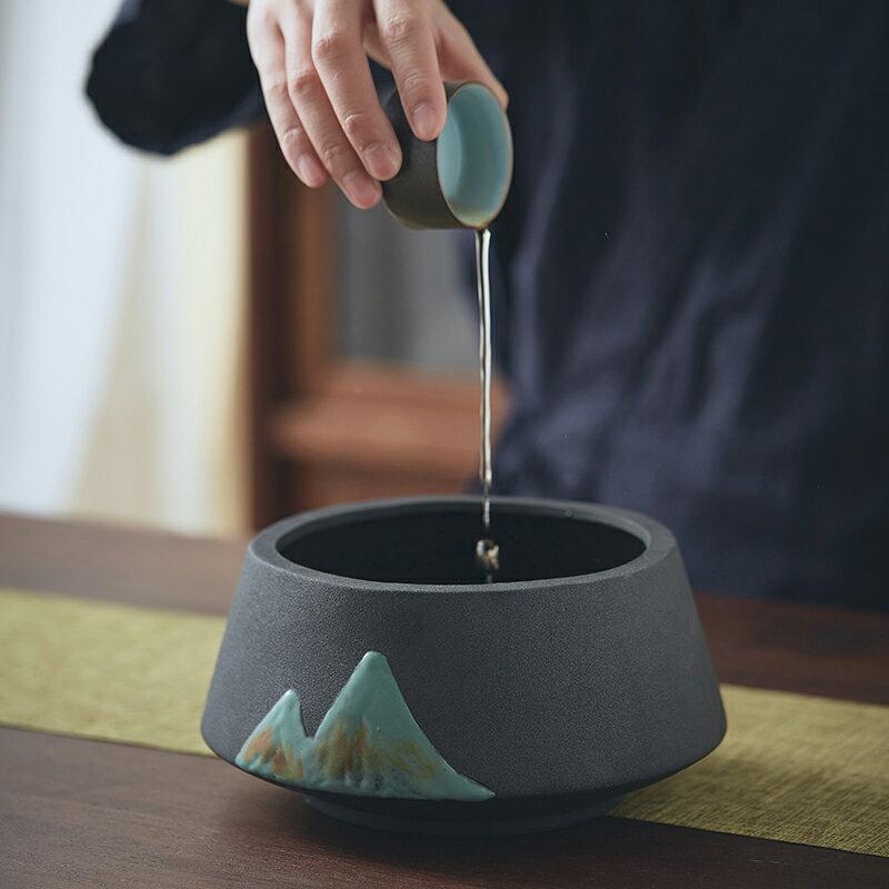 棲鳳居 高山流水系列建水茶洗陶瓷復古水盂茶盂功夫茶具家用配件