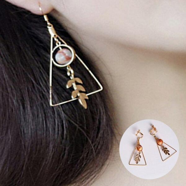 77美妝:幾何三角葉子寶石耳環耳針耳夾H73012