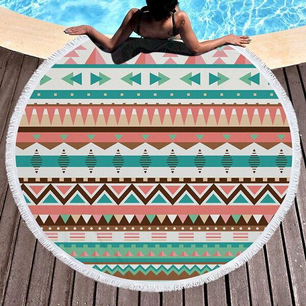 沙灘巾幾何條紋圓形印花流蘇野餐巾海灘巾圓形沙灘巾150*150【YC026】BOBI0403