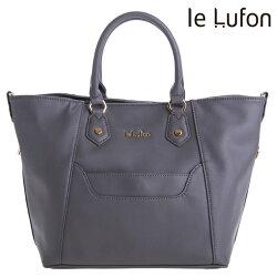 【le Lufon】 笑臉包 灰色十字紋革前口袋設計可敞開式蝙蝠版型(L)兩用手提包/肩背包/側背包/斜背包(深灰/象牙白共二色)秋冬款