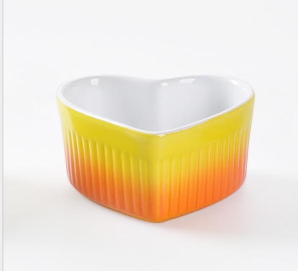 HOMA 彩色廚房 心型彩色烘培烤盅 無鉛無毒 來自法國時尚色系 橘色一個 母親節媽媽最愛