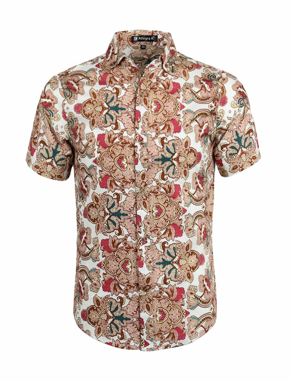 e3af865ed787 Unique Bargains Men s Summer Button Down Casual Floral Print Short Sleeve  Shirt 0