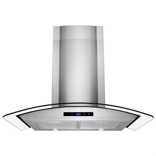 "30"" Stainless Steel Wall Mount Range Hood Touch Screen Control Light Aluminum Mesh Filter 0"