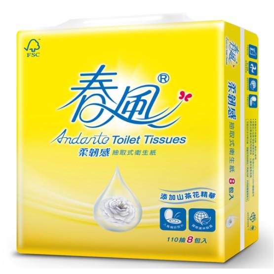 春風山茶花110抽抽取式衛生紙(箱購含運)
