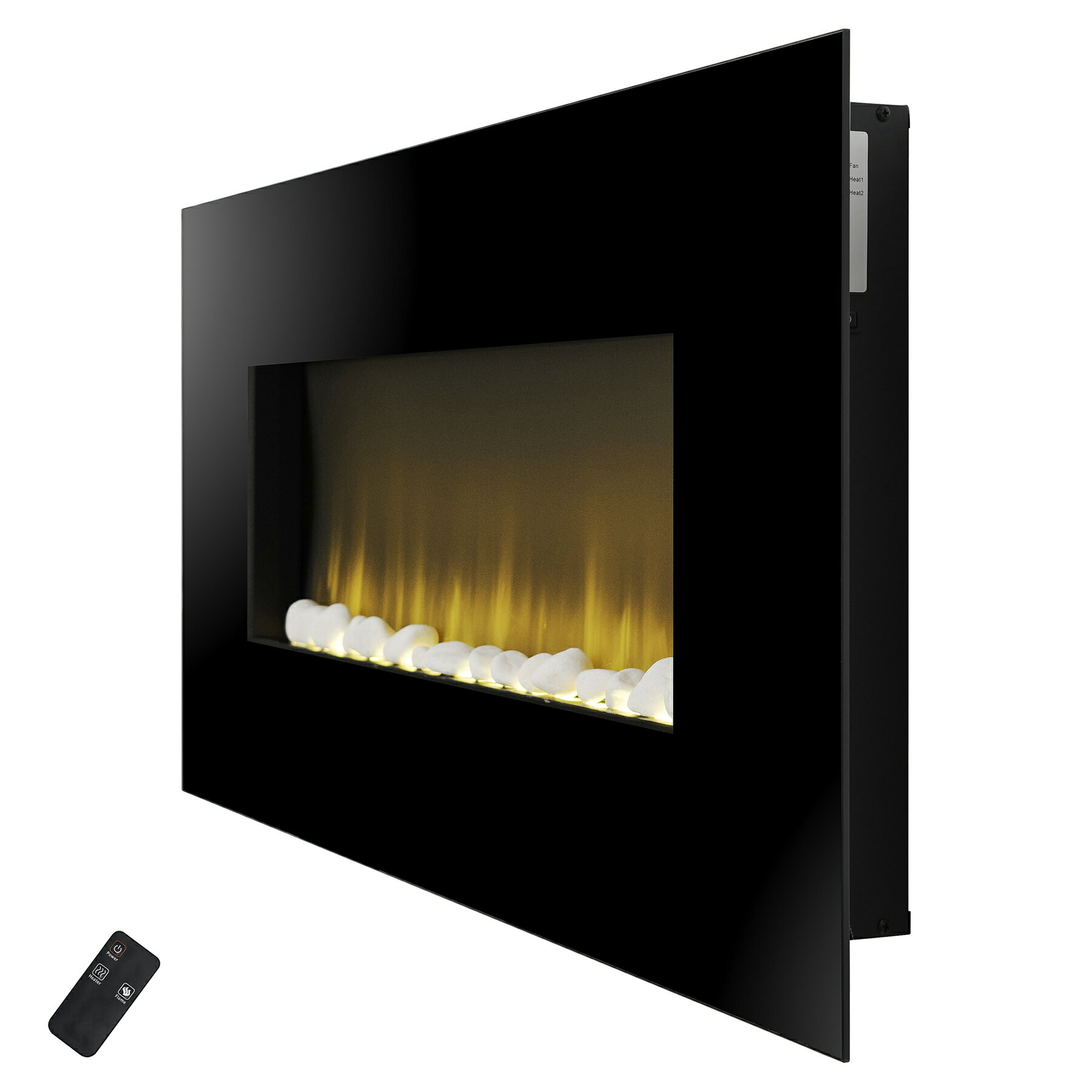 "AKDY 37"" Wall Mount Pebbles Bed Electric Fireplace Heater w/ Remote Control 3"