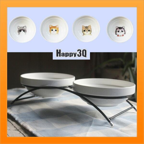 寵物雙碗水碗飼料碗狗碗貓碗陶瓷碗寵物餐具雙食盆鐵架貓餐桌-多款【AAA3957】