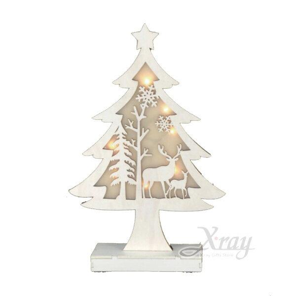 白色木製加燈聖誕樹(大),聖誕節/LED燈/聖誕老公公/聖誕木製品/門市佈置/櫥窗設計/閃燈/裝飾/擺飾/道具/交換禮物,X射線【X020740】