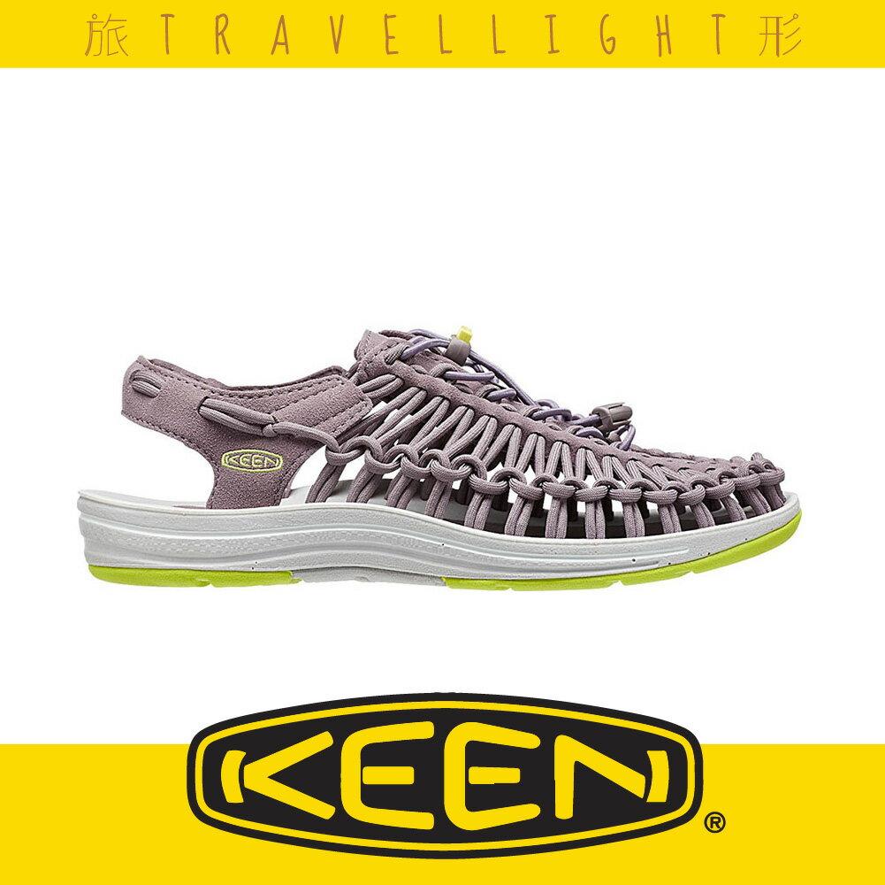 【KEEN】UNEEK FLAT 女戶外編織涼鞋 灰色 1014970 後空版 健行 溯溪 海灘 戶外 露營 Travellight旅形