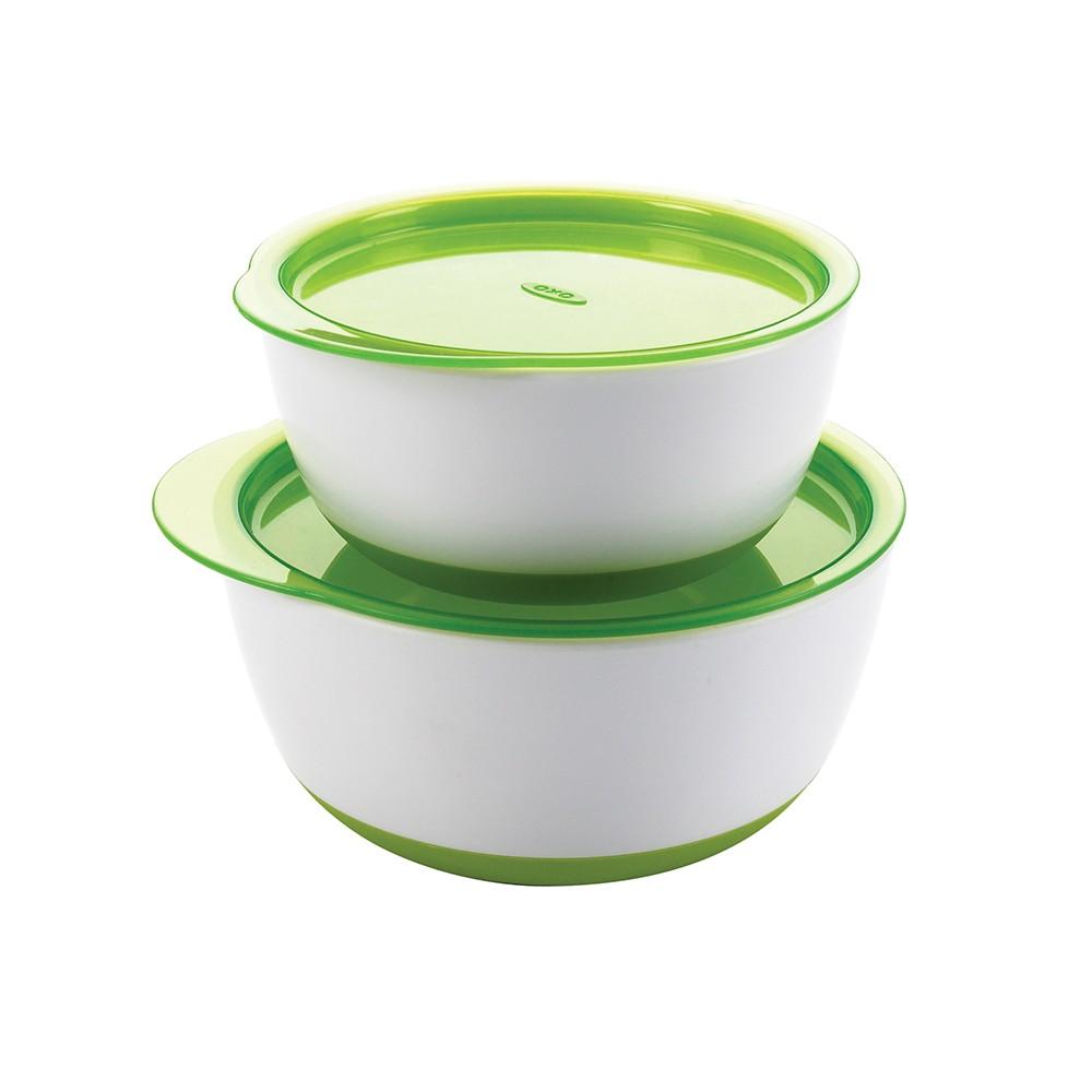OXO | tot 防滑加蓋大小碗組-青蘋綠