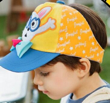 Lemonkid◆俏皮眼鏡兔寶寶蝴蝶結兒童涼爽透氣防曬半空頂帽-藍色帽檐
