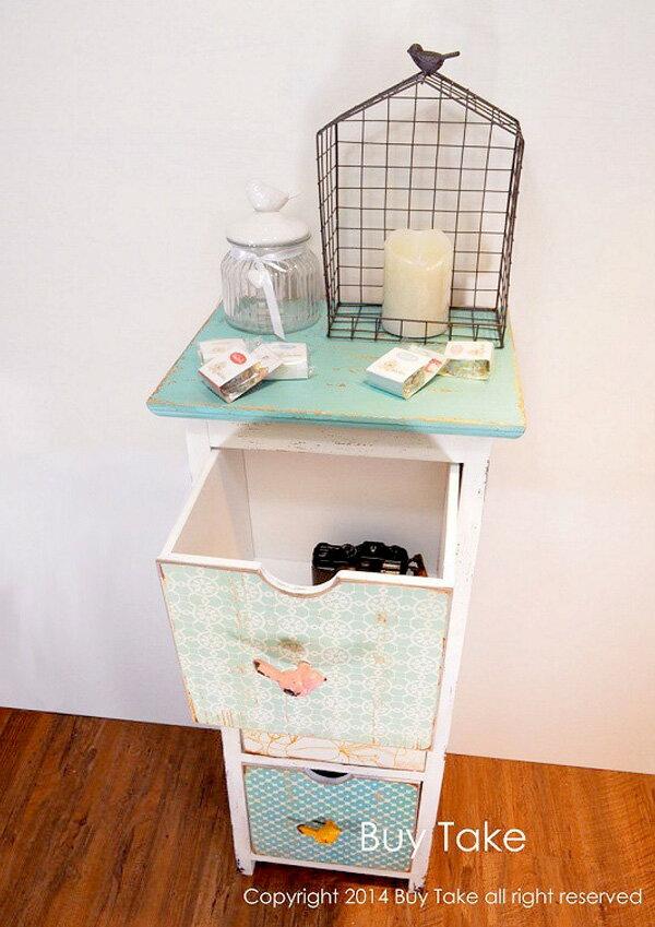 復古小鳥手把三格櫃 多層抽屜櫃 收納櫃 三層櫃 組合櫃 鄉村風 實木 古董 置物櫃