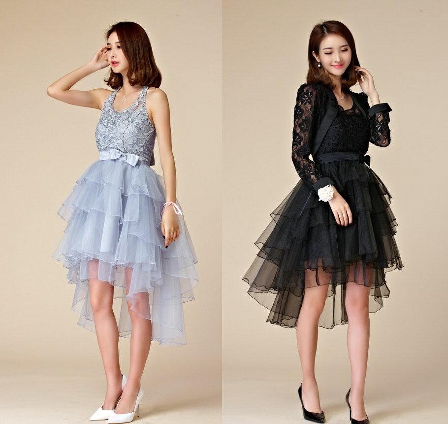 天使嫁衣【J2K9874】2色中大尺碼名媛晚宴波浪裙擺前短後長造型禮服˙預購訂製款