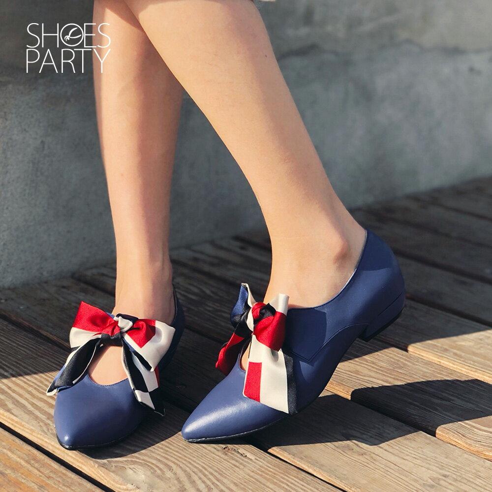 【F2-19104L】優雅緞布蝴蝶結低跟鞋_Shoes Party 2