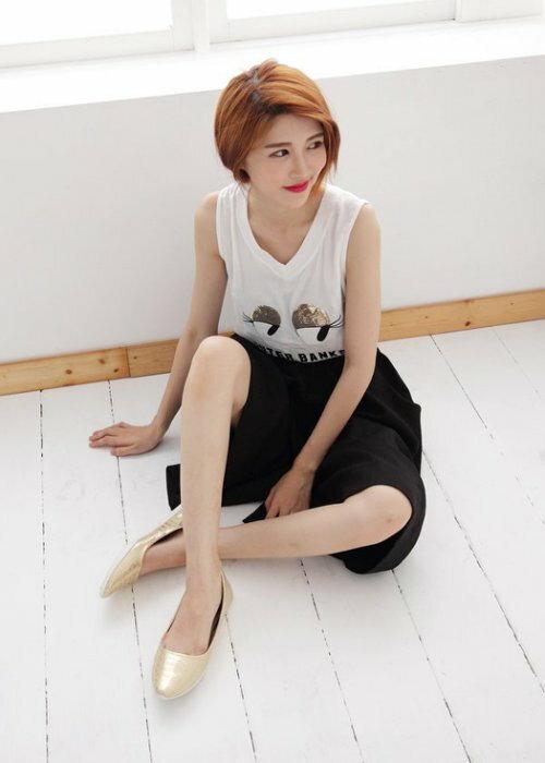 Pyf ♥ 秋冬超舒適軟膠底 金屬光澤 金色軟皮 平底鞋 寬楦 40-42大尺碼女鞋