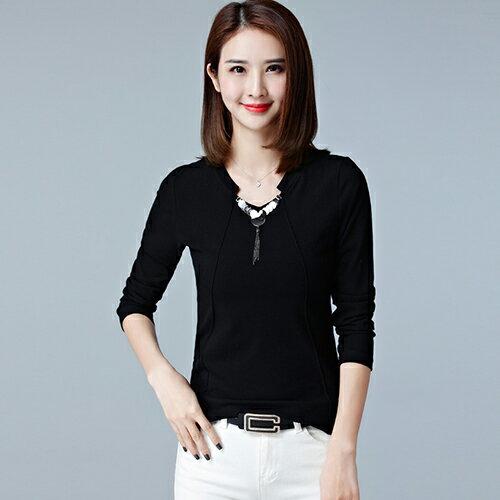 韓版修身打底衫女長袖T恤(黑色M~2XL)*ORead* - 限時優惠好康折扣