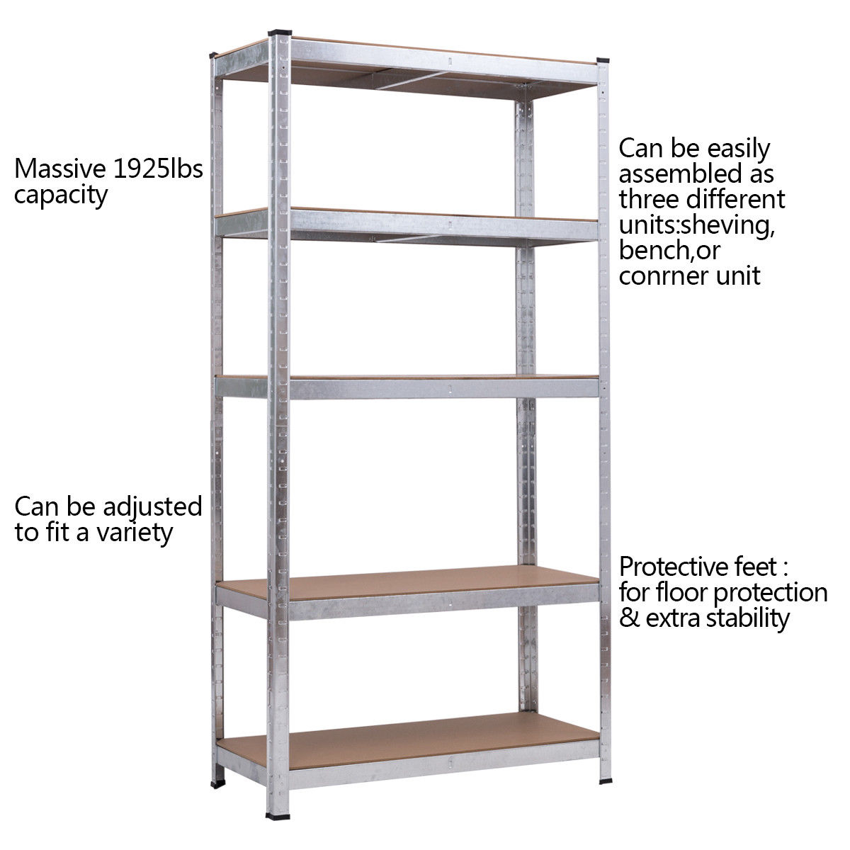 costway 71 heavy duty storage shelf steel metal garage rack 5 level adjustable shelves - Heavy Duty Storage Shelves