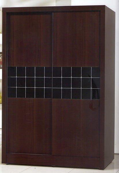【尚品傢俱】405-01魔術方格胡桃4*7尺推門衣櫃/衣櫥 ~台灣製造~請來電洽詢優惠價