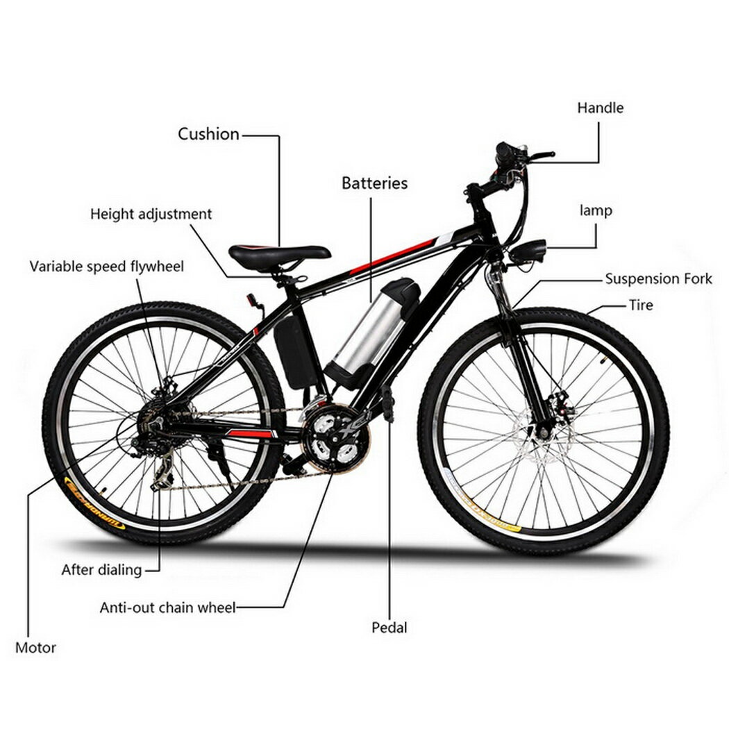 Ancheer 25 inch Wheel Aluminum Alloy Frame Mountain Bike Cycling Bicycle Black 3