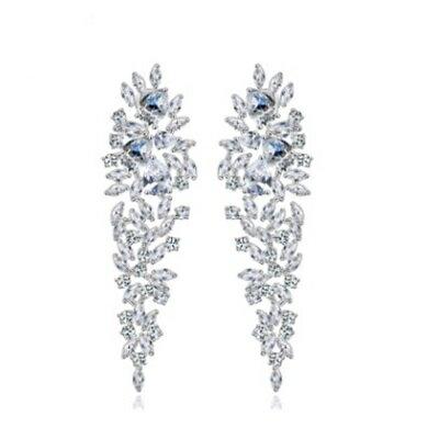 純銀耳環鍍白金鑲鑽耳飾~ 亮眼婚禮晚宴生日情人節 女飾品73cr176~ ~~米蘭 ~