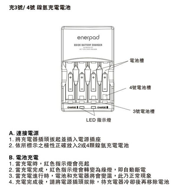 enerpad TG333 3號 / 4號鎳氫電池充電器 支援sony新力 國際 富士通 2